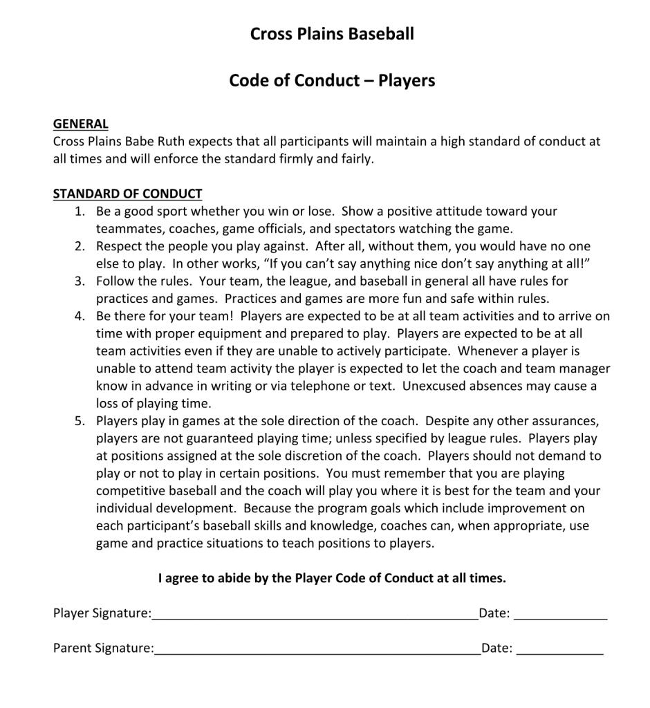 Ethics Professional Responsibility: Cross Plains Youth Travel BaseballCross